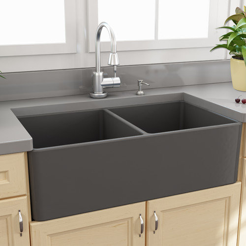 Nantucket Sinks Fireclay Farmhouse 33.25'' x 18'' Double Bowl Kitchen Sink
