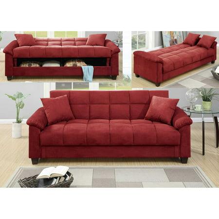 Red Microfiber Storage Futon Sofa Bed