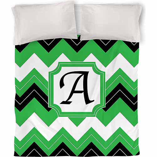 Thumbprintz Chevron Monogram Duvet Cover, Black