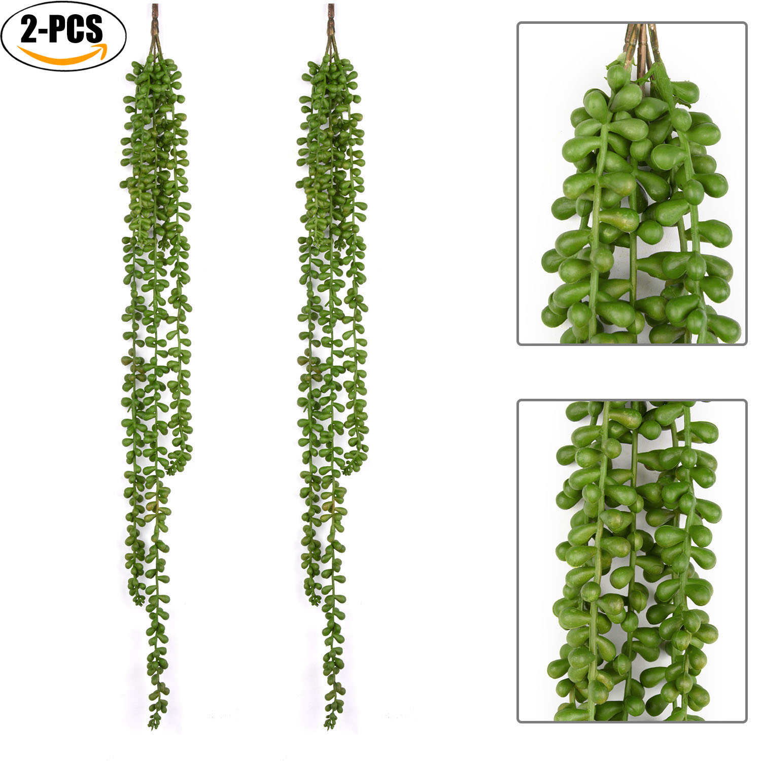 Outgeek 2Pcs Green Artificial Hanging Plant Fake Succulent String of Pearls Fake Hanging Plants Natural Art Decoration for Home Garden Wedding Party Decor, 77*67cm