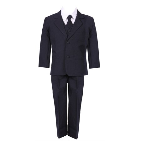 Baby Boys Navy Blue 5 Piece Vest Jacket Pants Special Occasion