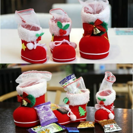 HOT!!Gift Candy Christmas Shoes Xmas Decoration Tree Boots Stocking Hanging Bag - Stocking Decorations