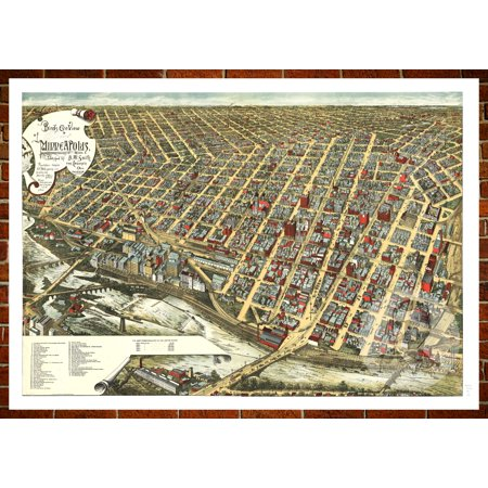 Ted\'s Vintage Art Map of Minneapolis, MN 1891; Old Minnesota Decor ...