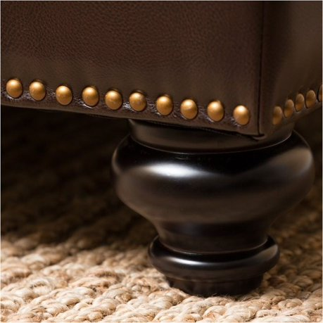 Bowery hill leather ottoman coffee table in dark brown Dark brown leather ottoman coffee table