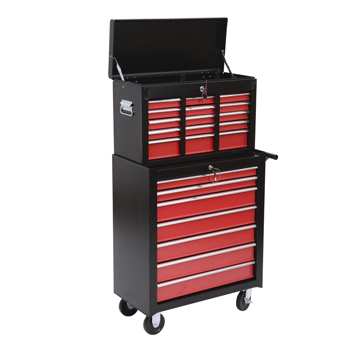 HomCom Garage Rolling Tool Chest Cabinet with 16 Drawers - Black ...