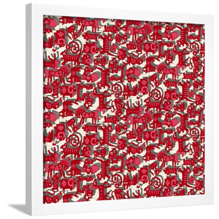 Chinese Animals Red Framed Print Wall Art By Sharon Turner