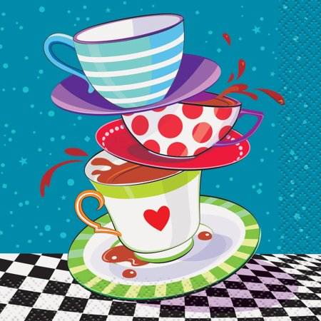 Alice in Wonderland Tea Party Beverage Napkins, -