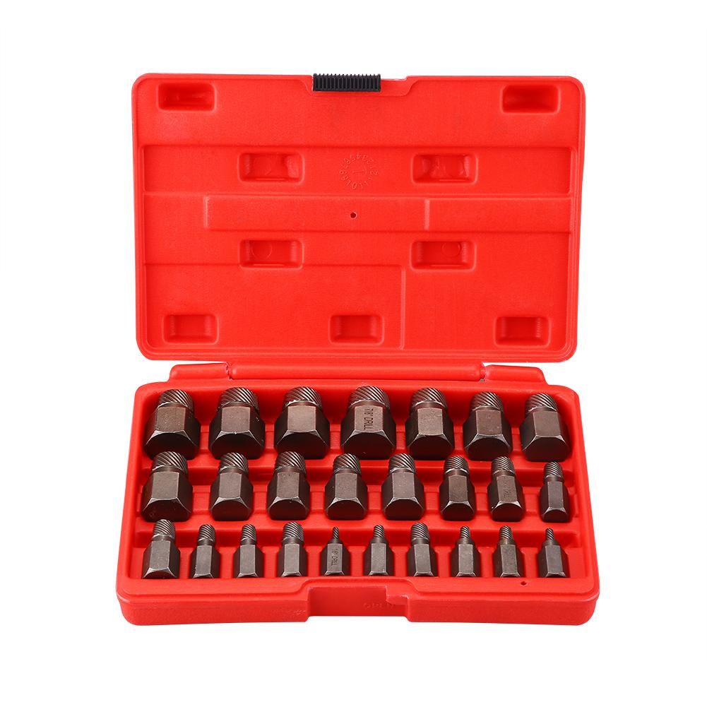 Dilwe Multi Spline Screw Extractor Set Sturdy Designed Tools for Studs Bolts Removal 25pcs Set Hex Bit Head Damaged Screw Broken Bolt Water Pipe Remover Socket Wrench Bolt Remover