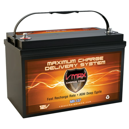VMAX MR137-120 12V 120Ah AGM Deep Cycle Marine Battery for 12 Volt 55 Pound 55lb Thrust Trolling Motors