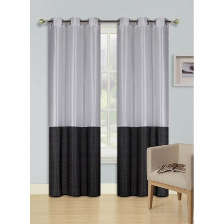 2pc WHITE BLACK HEIDI Faux Silk Drape Panel Top Chrome Metallic Grommet Window Curtain Treatment Drape 2 Shade 37 wide x 95 -