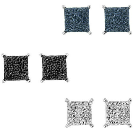 Diamond Accent Round White, Blue and Black Rhodium Plated Stud Earrings, 3 Piece Set