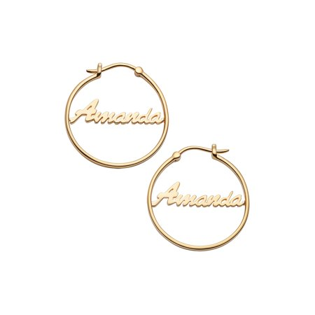 f36932c91 Personalized Planet Jewelry - Personalized Women's Sterling Silver or Gold  over Silver Name Small 25mm or Medium 35mm Hoop Earrings - Walmart.com