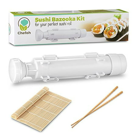 All-In-One Sushi Making Kit - Sushi Bazooka, Sushi Mat & Bamboo Chopsticks Set