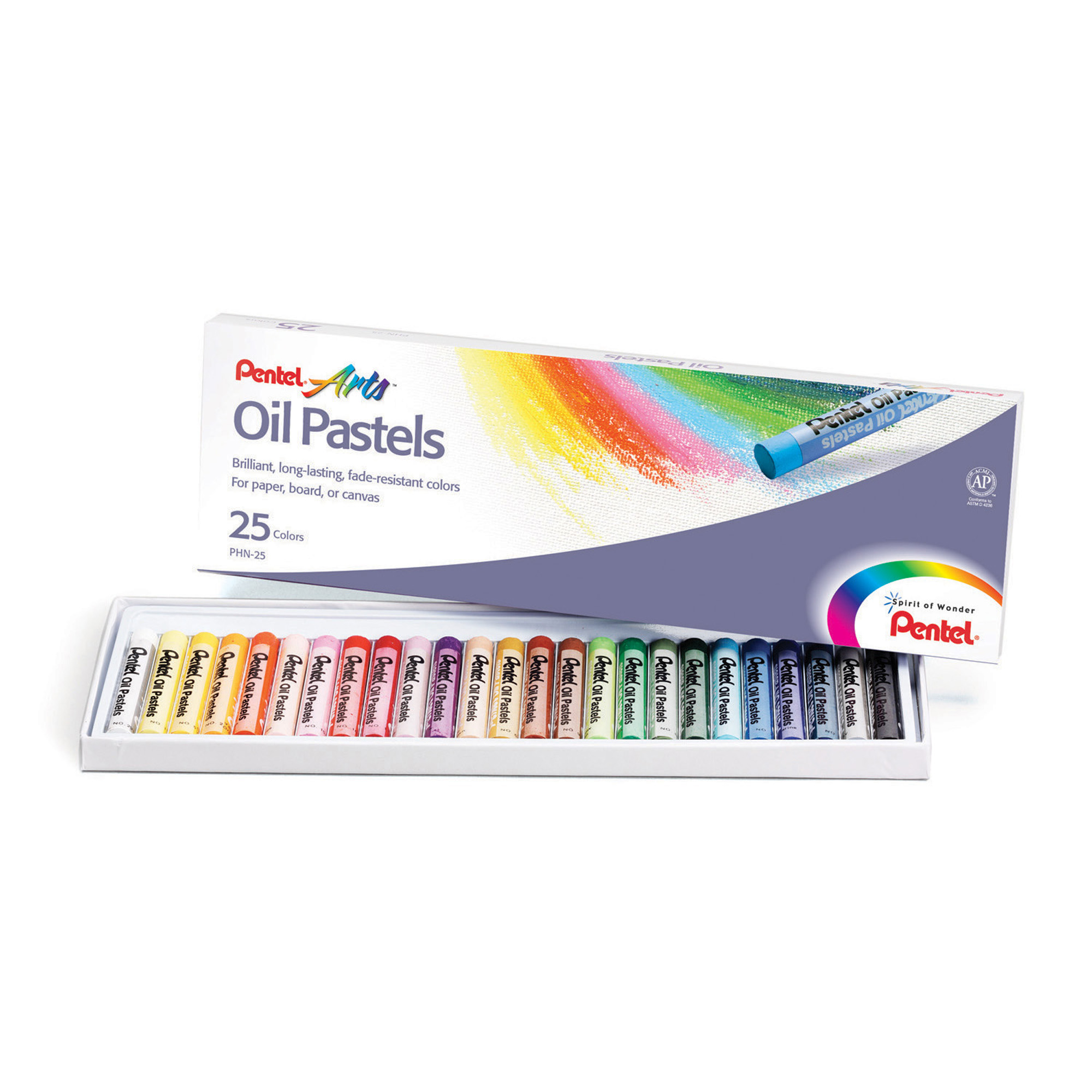 Pentel® Arts™ Oil Pastels, 25 Per Box, 6 Boxes