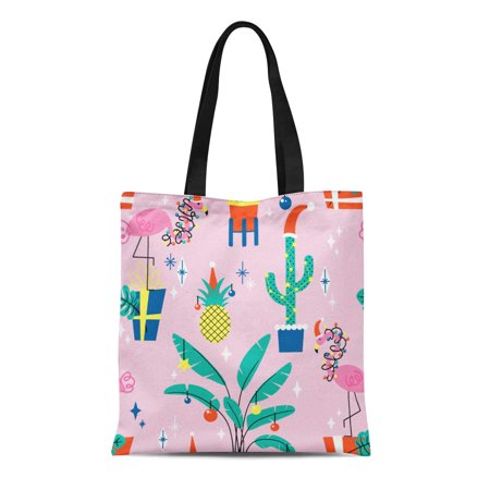 POGLIP Canvas Bag Resuable Tote Grocery Shopping Bags Pink Pineapple Christmas with Tropical Plants and Flamingos in Hats Winter Anima Tote Bag - image 1 of 1