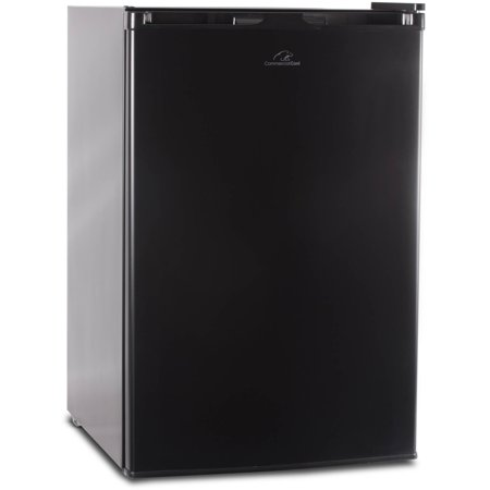4.5 Cu Ft Refrigerator with Freezer Commercial Cool 4.5 cu ft Refrigerator with Freezer, Black: Three full-width slide-out glass shelvesTwo full-width and 1 half-width door storage shelfCan storage fits up to 5 cansAccommodates 2 liter and tall bottles half-width freezer compartment with ice cube trayRecessed door handleAdjustable thermostat controlCommercial cool black freezer with reversible doorSpace saving flat back designMetallic backing meets new UL standard for safetyIn box: unit, use and care book, ice tray, steel, copper, aluminum, PVC, polyurethane and polystyreneColor: blackAdjustable leveling legs manual defrost compliant to DOE 2014 standards r600a refrigerant