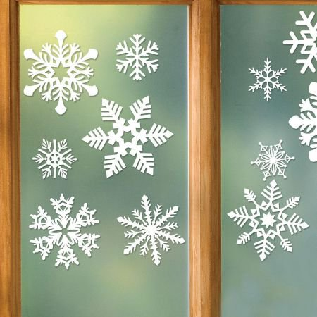Snowflake Vinyl Cling- set of 32 - Snowflake Window Clings