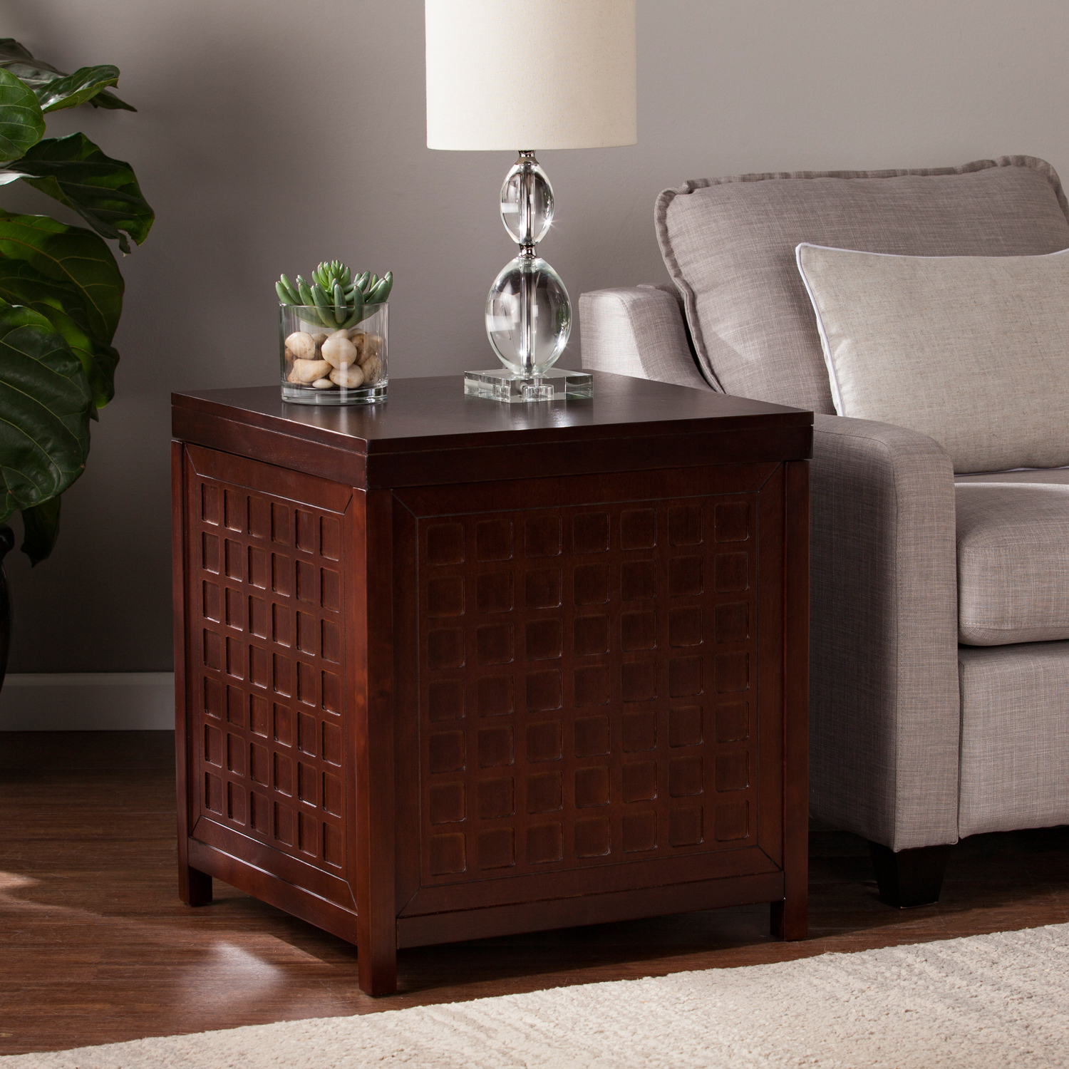 Southern Enterprises Alva Trunk End Table, Espresso