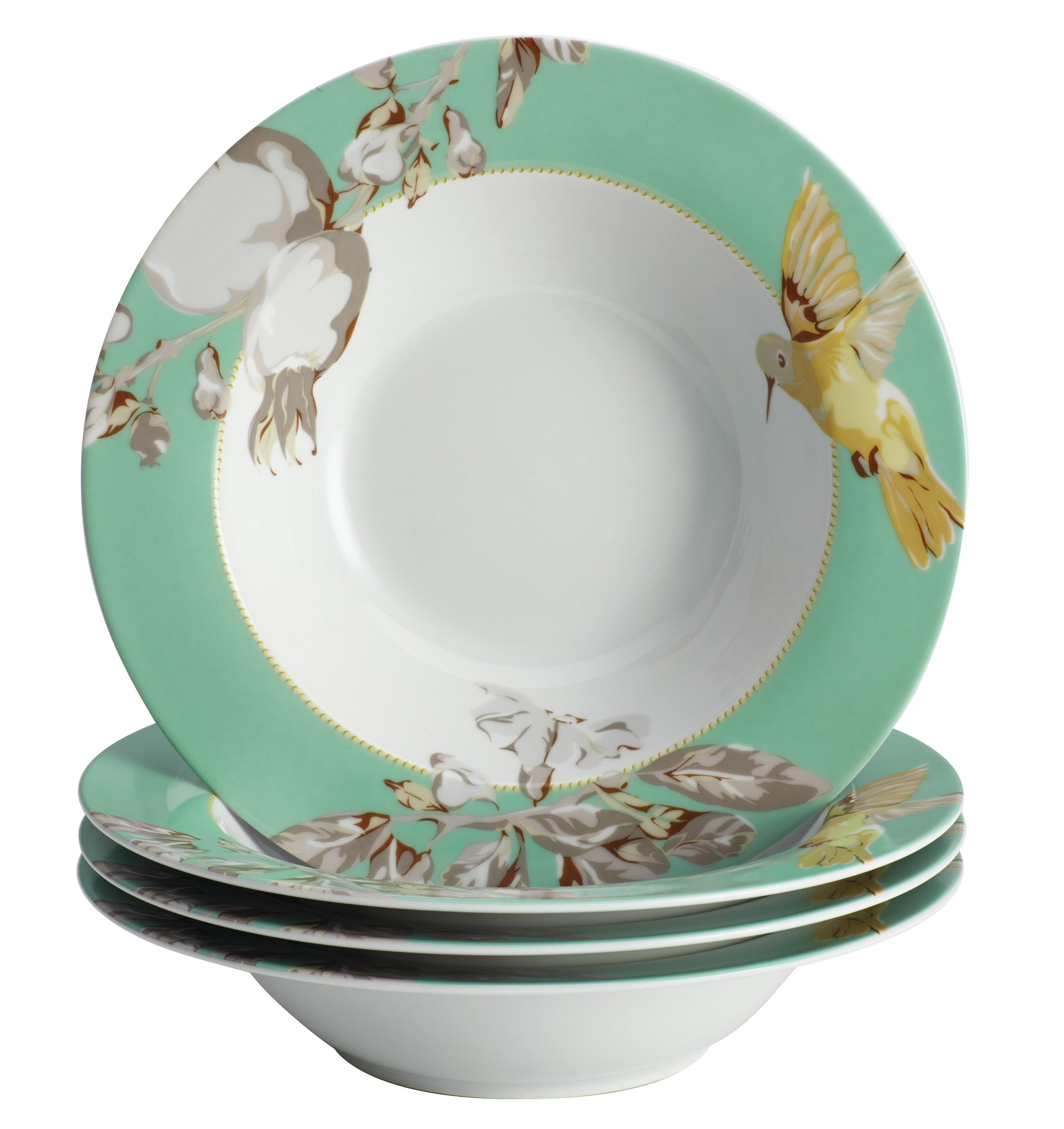BonJour Dinnerware Fruitful Nectar Porcelain 4-Piece Soup/Pasta Bowl Set, Print