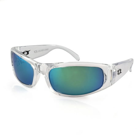 - Clear Lake Manatee Clear Frame Sunglasses, Smoke Polarized Lens with Green Mirror