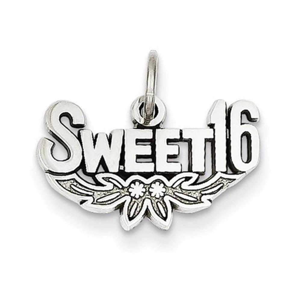 14k White Gold Sweet 16 Charm