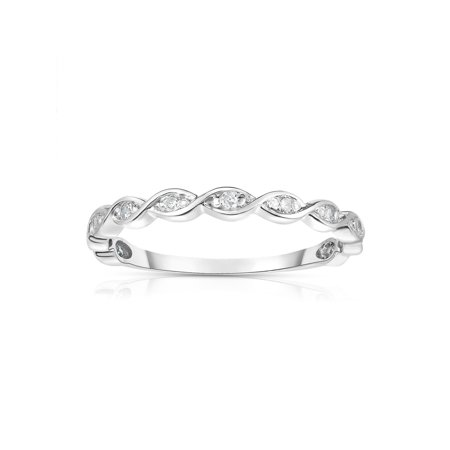 901853b70 14K White Gold Diamond (0.07 Ct, G-H Color, SI2 Clarity) Braided Stackable  Ring - Walmart.com