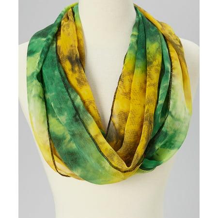 Amtal Lightweight Green Yellow Amazon Design Soft Casual Chiffon Infinity Scarf
