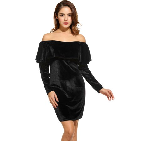 Women Long Sleeve Sexy Off Shoulder Club Dress Slim Bodycon Knitted Sweater Mini Party Night Dresses Vestidos