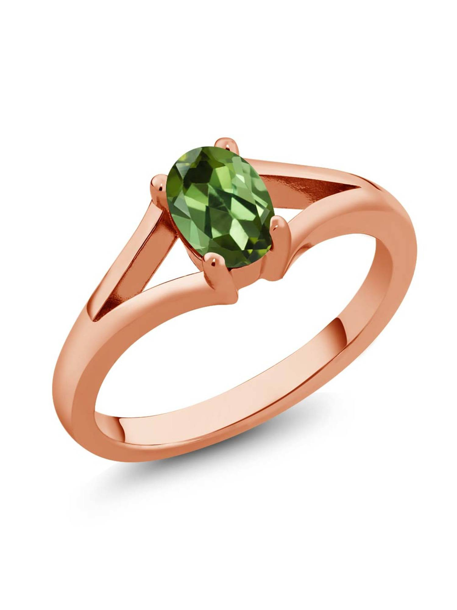 0.85 Ct Oval Green Tourmaline Rose Gold Plated Silver Solitaire Ring by