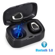 Bluetooth 5.0 Bass True Wireless Headphones, Sports Wireless Earbuds Earphones, Built-in Microphone for iPhone, Samsung, Android Phone
