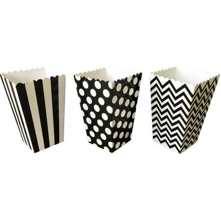 Black Chevron, Stripe and Polka Dot Popcorn Treat Boxes  36 Pack](Black Popcorn Boxes)