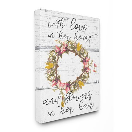- The Stupell Home Decor Collection Love In Her Heart Flowers In Her Hair Flower Crown Stretched Canvas Wall Art, 16 x 1.5 x 20