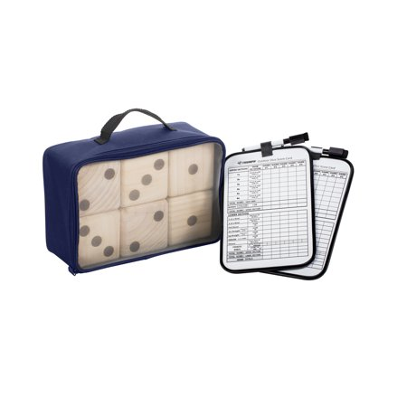 Striped Dice Wooden Set (Triumph Big Roller Six Large Wooden Lawn Dice Set for Outdoor Use with Included Dry-Erase Scorecards, Markers, and Carry Bag)
