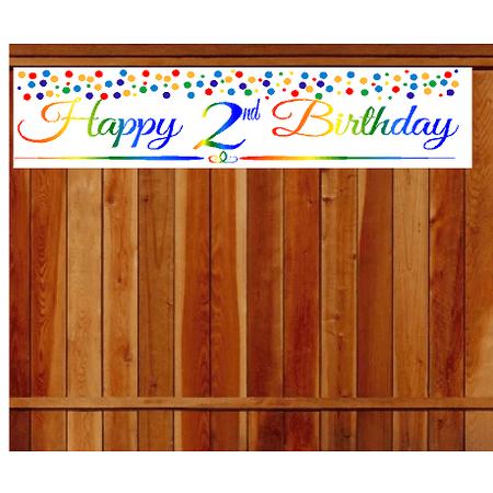 Birthday Decoration Items (Item#002RPB Happy 2nd Birthday Rainbow Wall Decoration Indoor / OutDoor Party Banner (10 x)