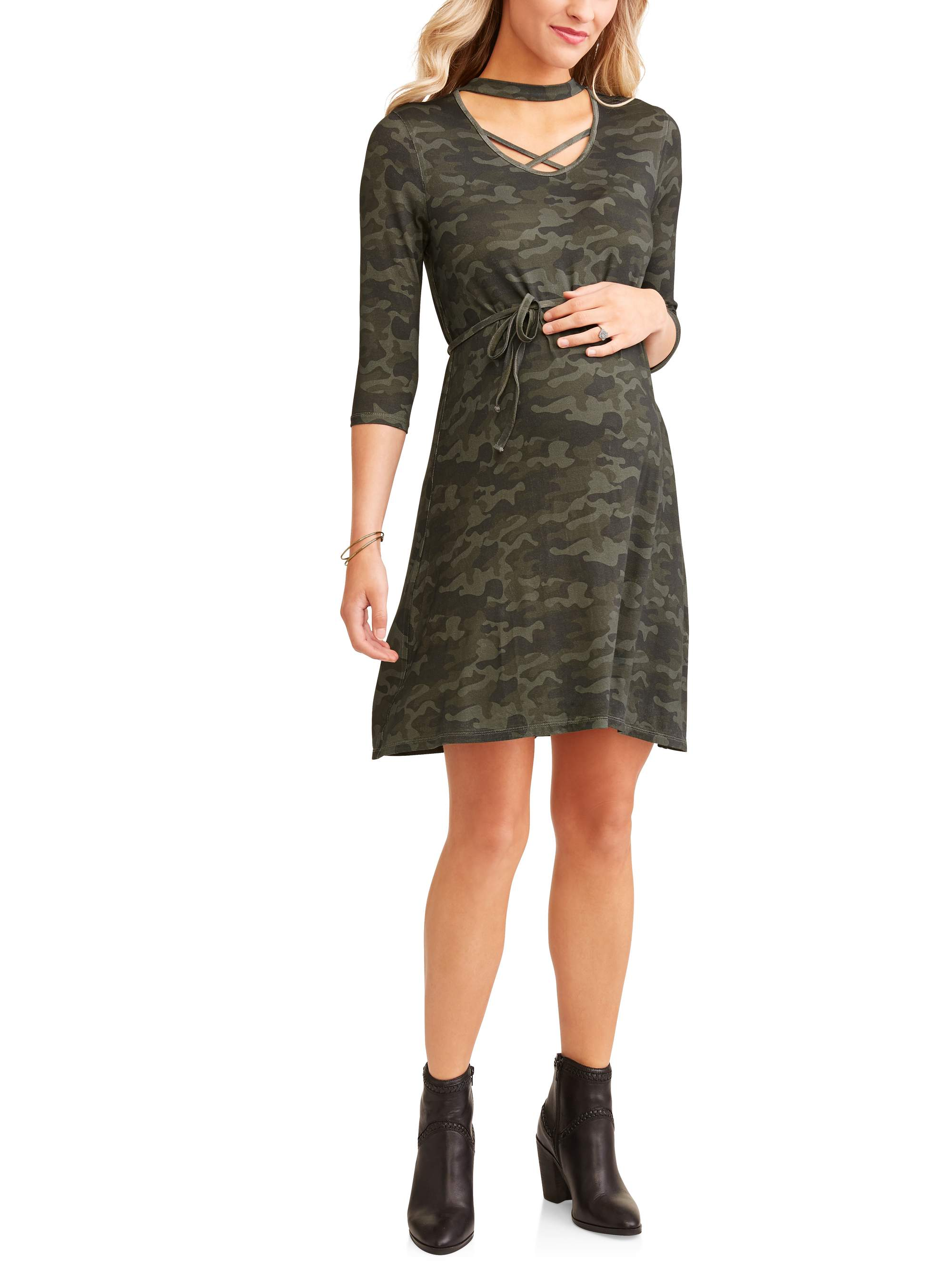 Maternity Short Sleeve Knit Dress With Strap Details by ES Sutton