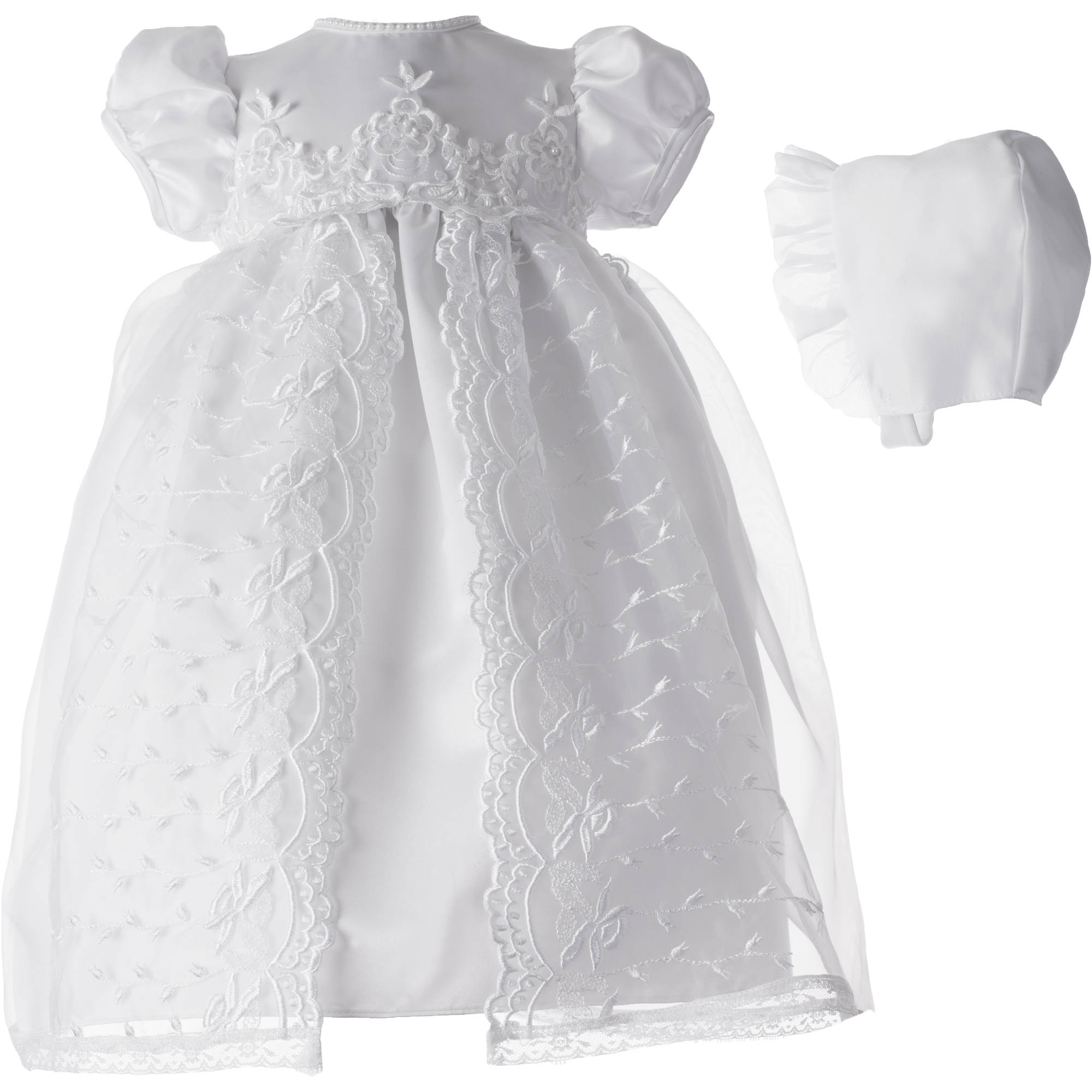 Christening Baptism Newborn Baby Girl Special Occasion Girls Long Embroidered Organza Over Satin Dress