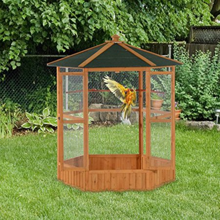 Pawhut Wooden Outdoor 65 in. Aviary Bird Cage with Covered - Corner Aviary