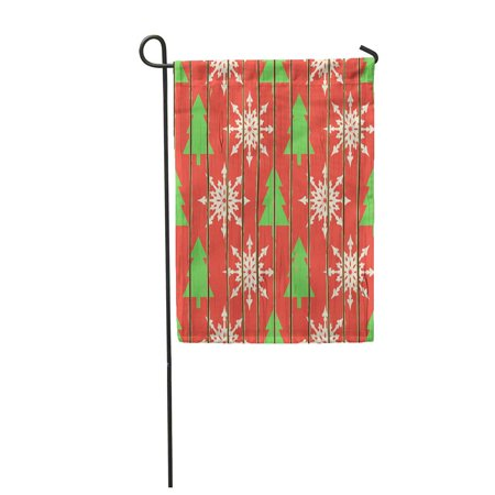 Rustic Garden Tree (KDAGR Red Wall Christmas Wood Green Xmas Rustic Light Vintage Plank Merry Tree Garden Flag Decorative Flag House Banner 28x40 inch )
