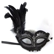 Black Sheer Beaded Rhinestone Mardi Gras Feather Mask Masquerade