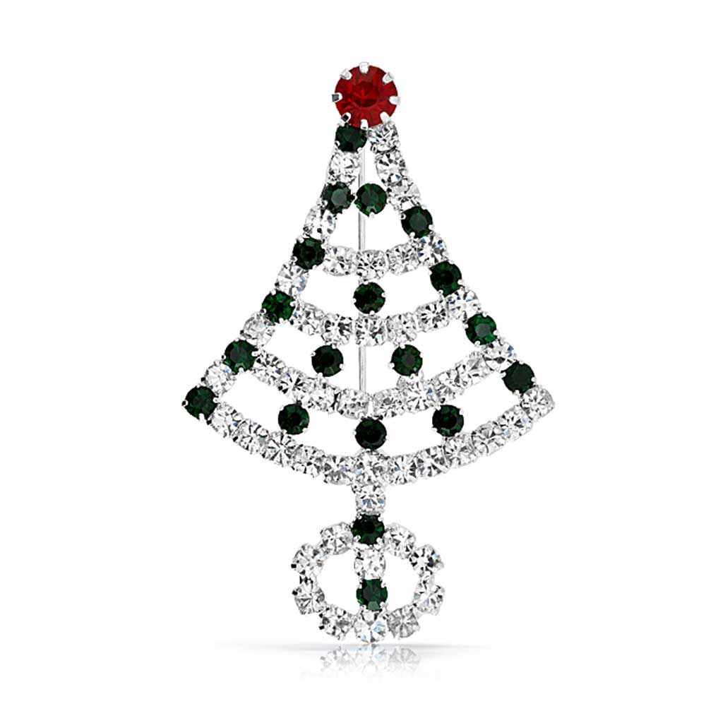 Bling Jewelry Red Simulated Emerald Crystal Holiday Pin silver Plated by Bling Jewelry