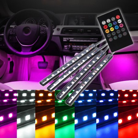 - 4x 12V 9LEDs RGB Car Interior Floor Atmosphere Lights Wireless Voice/IR Control Colorful Car Underdash Lighting Kit With Remote Control Cigarette Lighter