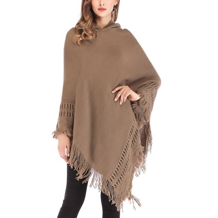 DODOING Womens One Size Knitted Tassels Hooded Cape Shawl with Fringed Hem, Crochet Poncho Shawl Wrap Scarf Knitting Patterns Free Pattern Knit Shawl
