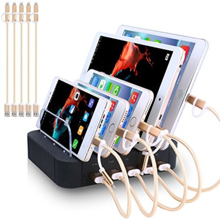 Charging Station 5 Port Usb Charger Quick Charge Dock Cell Phone Multi