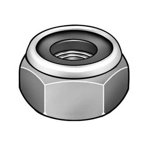 MIDWEST ACORN NUT MPB3254 Hex Locknut, Gr 2, Chrome, 1/4-28, PK5
