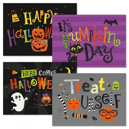Big Messages Halloween Cards- Set of 8 Halloween Greeting