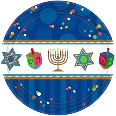 "Amscan Joyous Menorah Celebration Round Luncheon Plates Tableware, Blue/White, Paper, 10 1/2"", 18-Piece"