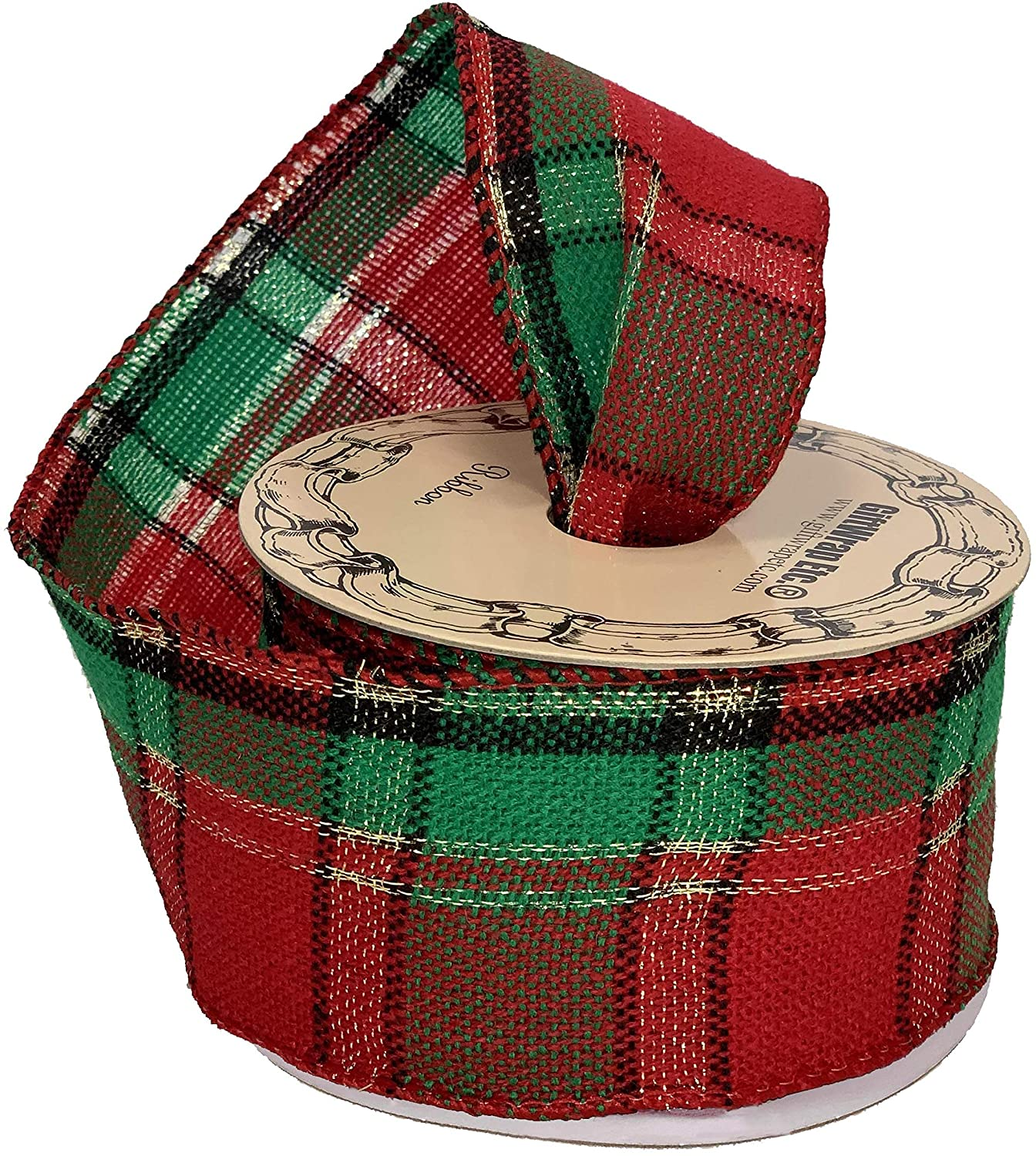 12ft by the Roll Wired Ribbon Swag Garland and Christmas Tree Decorating 2.5 Red and Lime Green Plaid Christmas Ribbon DIY Wreath Bows