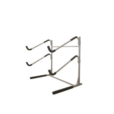 Sparehand Freestanding Dual Storage Rack for 2 SUPs or Surfboards, Tools-Free Assembly, Pebble Silver - Pebble Finish
