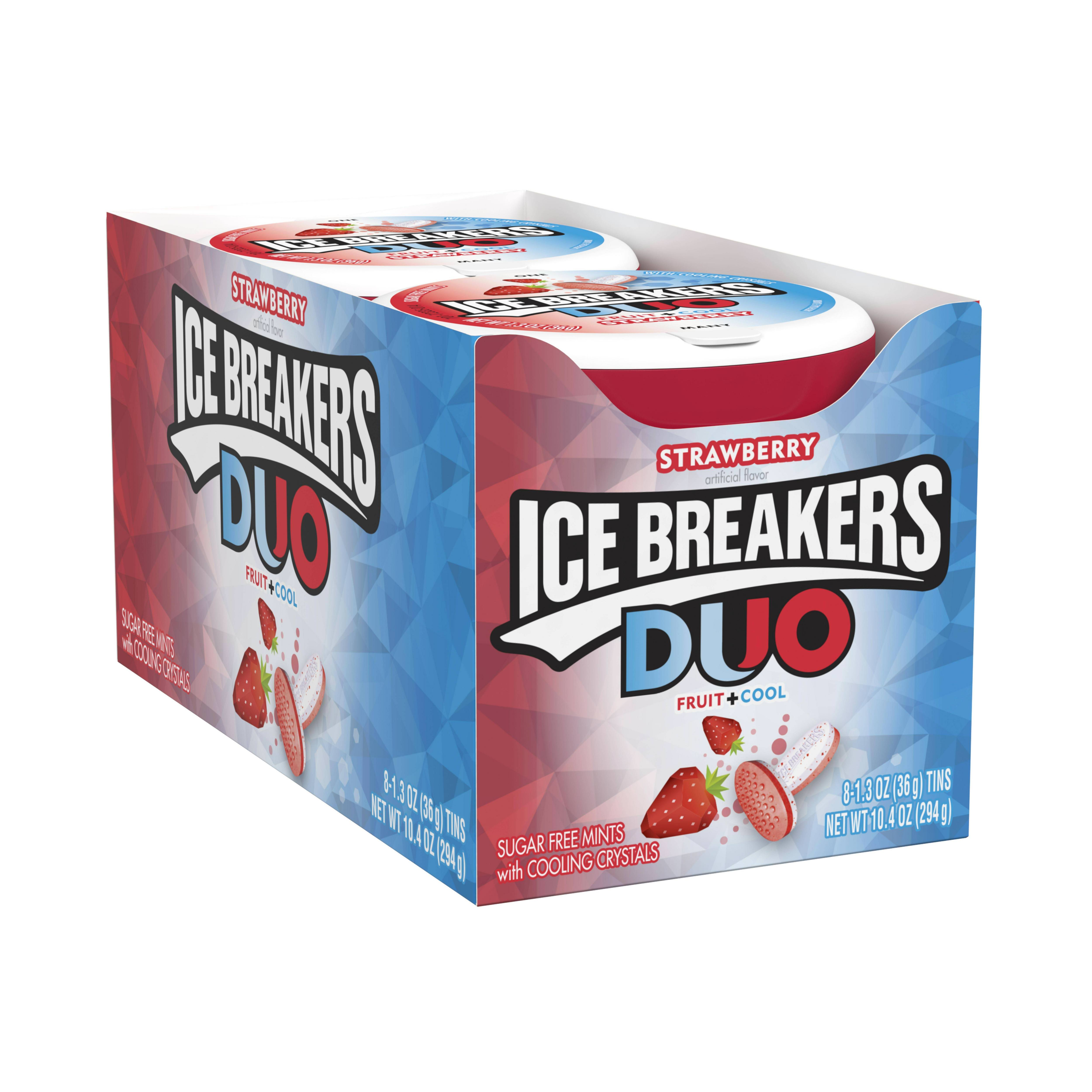 Ice Breakers, Sugar Free Duo Fruit & Cool Strawberry, 1.3 Oz, 8 Ct