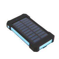 iMeshbean Solar Charger, 10000mAh Solar Power Bank with Dual USB, External Backup Battery Pack Solar Panel Cellphone Charger (Red)